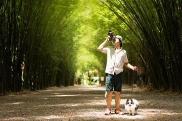 tourist travel in bamboo groove