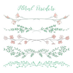 Vector Colorful Dividers with Branches, Plants and Flowers
