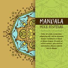 Vector mandala Holi. Happy Holi festival greeting card design with Mandala. Oriental pattern, vector illustration. Islam, Arabic Indian turkish