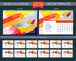 Desk Calendar 2018 Vector Design Template with abstract pattern. Set of 12 Months. vector illustration