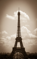 Eiffel tower and Parisian landscape. Sepia. Vignette.