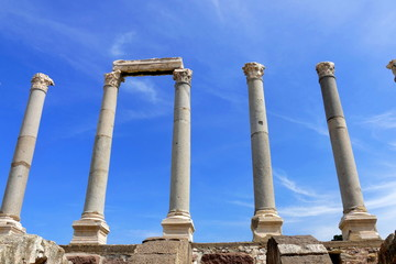 Ruins of agora in the city of Izmir. Ancient building with arches, built of stone.