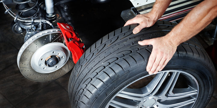 Changing a tyre in a garage