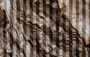 Zigzag Pile of wood bark old uneven to see difference style of texture and shadow