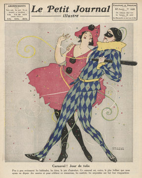 Two carnival characters having fun. Date: 1922