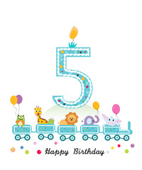 Happy fifth birthday greeting card. Birthday train with animals