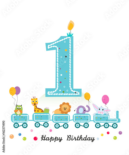 Happy first birthday greeting card birthday train with animals happy first birthday greeting card birthday train with animals m4hsunfo