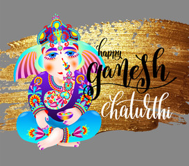 happy ganesh chaturthi indian festival design poster