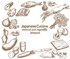 Japanese Cuisine. Seafood and Vegetable Tempura ingredients
