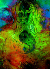 goddess woman and symbol Yin Yang in cosmic space. Glass effect.