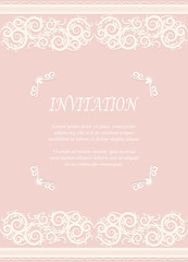 Invitation card, wedding card with ornamental on pink