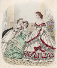 Red - White Dress 1863. Date: 1863