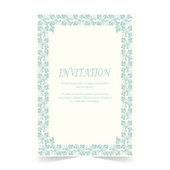 Invitation card, Wedding card with ornament on ivory