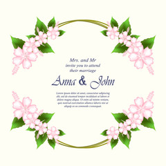 Invitation card, wedding card with Hibiscus flowers in spring time background