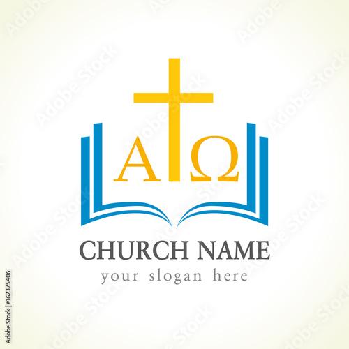 Christian church vector logo  Gold crucifixion, open blue