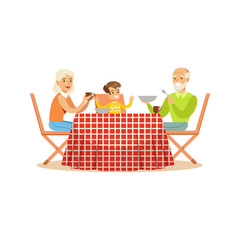 Grandmother, grandfather and grandson having lunch outdoors, happy family characters at a picnic vector Illustration