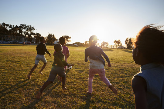 Elementary school kids playing football in a field, back view