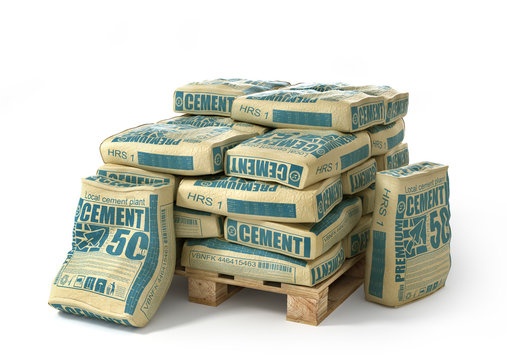 Cement bags stack on wooden pallet. Paper sacks isolated on white background. 3d illustration