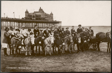 Wall Mural - Donkey rides  Weston-Super-mare. Date: 1920s