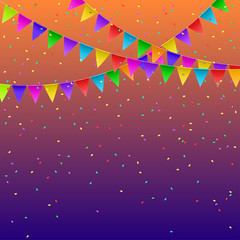 Colorful flags garlands on gradient background. Party decoration frame for birthday, carnival, celebration. Vector illustration.
