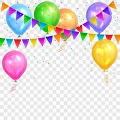 Border of realistic colorful helium balloons and flags garlands isolated on transparent background. Party decoration frame for birthday, anniversary, celebration. Vector illustration.