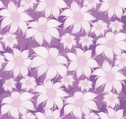 Seamless floral pattern. On purple background purple flowers of edelweiss, water lily, lotus. For postcard, invitations, textiles, clothes, wrapping paper, wallpaper, interior design of room.