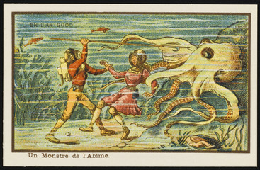 Futuristic encounter with an octopus. Date: 1899
