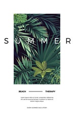 Dark vector tropical typography postcard design with green jungle palm leaves. Space for text.