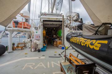 GENOA (GENOVA), ITALY JUNE 23, 2017 - The Greenpeace logo on life boats on board of the Raimbow Worrior.