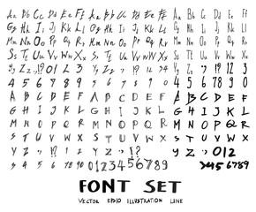 Font Doodle line vector set eps10