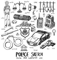 Police Doodle Sketch line icon vector set eps10