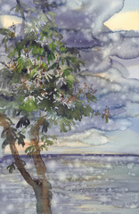 rainy landscape with sea, sky and conker watercolor background