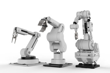 three robotic arms on white background