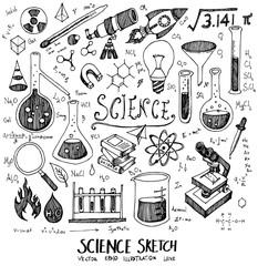 Science Doodle Sketch line icon vector set eps10