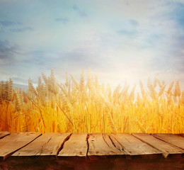 Wheat field in summer with table