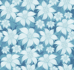 Seamless floral pattern. On blue background there are blue flowers of edelweiss, water lily, lotus. For postcard, invitations, textiles, clothes, wrapping paper, wallpaper, interior design of room.