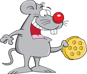 Cartoon illustration of a mouse holding a piece of cheese.