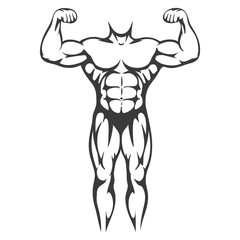 Male body muscle black silhouette isolated on white background. Vector illustration