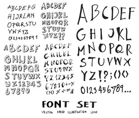Hand drawn alphabet letters Vector eps10