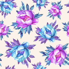 Floral seamless pattern with flowering pink and blue peonies, on peach background. Watercolor hand drawn painting illustration. Pop-art style, isolated. Design for fabric, wrap paper or wallpaper.