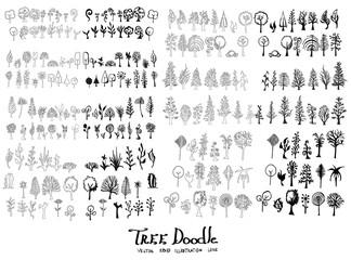 Tree Doodle Sketch line vector set eps10