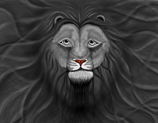 black Lion head with a wavy mane of filling a background