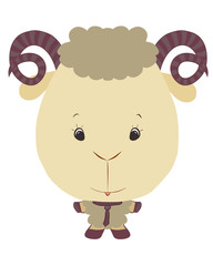 small lamb with horns