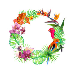 Tropical leaves, exotic birds, orchid flowers. Wreath border. Watercolor