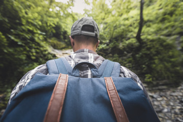 Man Tourist With Heavy Backpack Walking Through The Woods Wide Angle, Rear View Hiking Journey Travel Trek Concept