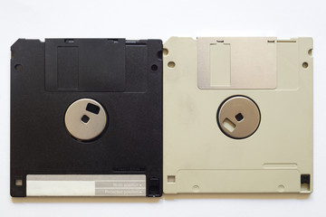Floppy discs on a white isolated background