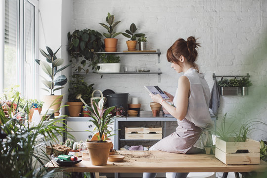 Pretty Caucasian woman florist sitting at her workshop and reading on tablet.