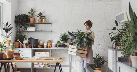Pretty Caucasian woman florist carrying box with plants at her workshop.