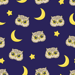 Seamless night pattern with cute owls, stars and moon. Vector good night background.