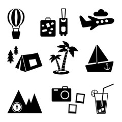 Black and white silhouette. Travel, recreation and vacation vector pictures set. Tourism types.